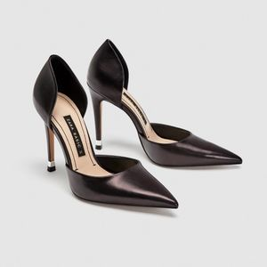 zara • black leather d'orsay pointy toe pump 41